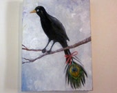 """Original oil painting Black bird with peackock feather on canvas 20""""x24"""