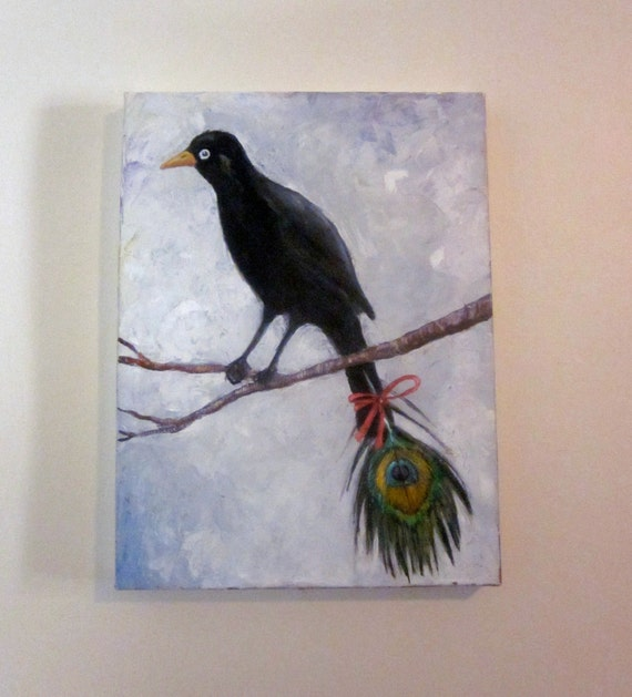 "Original oil painting Black bird with peackock feather on canvas 20""x24"