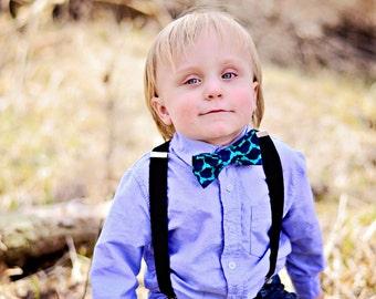 Nicholas - Boy's Navy Blue & Teal Clip On Bow Tie