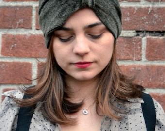 Reversible Black and Gold Speckled Velvet Turban Headband/ Hat