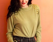 Studded Sweater Olive Green with Gold Pyramid Studs Studded Shoulder Embellished Crewneck Small Medium Vintage Soft