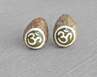 Green Om Earrings - Aum Pebble Earrings - Handpainted Natural River Stone Stud Natural Post Earrings