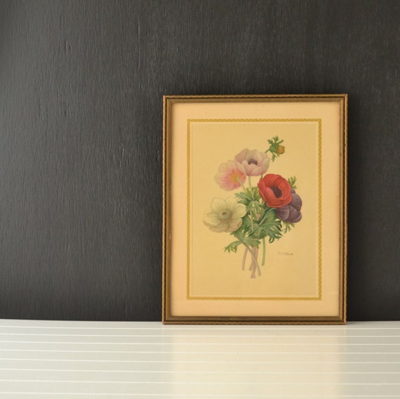 P J Redoute Botanical Print Vintage Flower Bouquet By