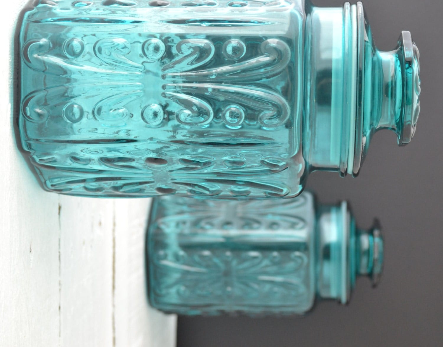 vintage glass canisters kitchen teal glass canisters vintage kitchen canisters atterbury 22581