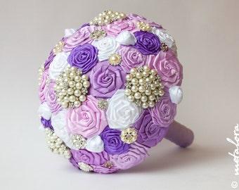 SALE!!! Brooch bouquet, Lilac Fabric Wedding Bouquet, Unique Fabric Flower Bridal Bouquet