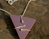 Purple/Mauve/Lilac enameled triangle necklace. - EraJewellery