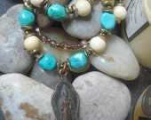 Peace Journey - Turquoise and Bone Beads Thai Buddha Pendant Zen Spiritual Necklace