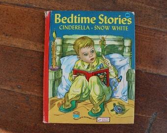 Vintage Children's Book - Bedtime Stories Cinderella & Snow White (Wonder Book - 1946)