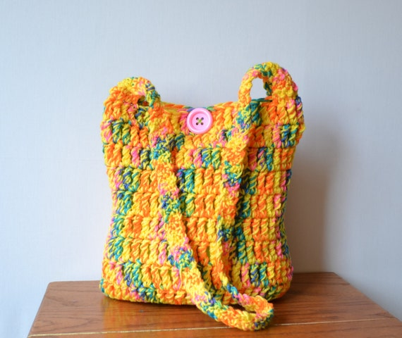 Crochet Rainbow Bag : Rainbow Crochet Hobo Bag, Boho Bag, Neon, Bright, Colorful, Sling Bag ...