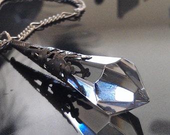 "Crystal Pendant on Fiagro Chain, Antiqued Silver Victorian Setting,  18"" silver Figaro Chain. Christmas,Wedding, Graduation. Mom. Teacher."