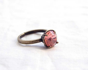 Adjustable Ring. Swarovski Solitaire Ring. Vintage Inspired. Rose Peach