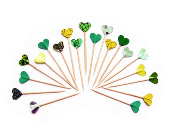 Green Party Picks Hearts Cupcake Toppers