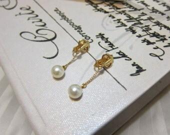 Trifari Dangle White Pearl Clip On Earrings