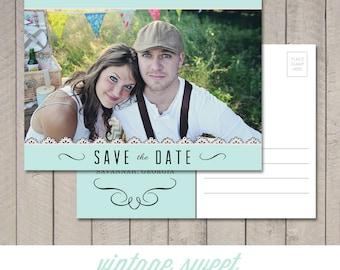Save the Date Postcard (Printable) by Vintage Sweet