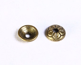 7mm antique brass round flower beadcaps -  antique bronze bead caps - round bead caps - Nickel free - Lead free (852) - Flat rate shipping