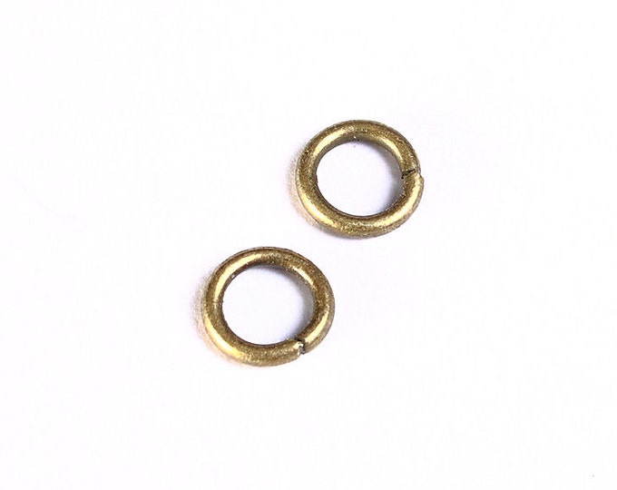 7mm antique brass jumpring - open jump rings - round jumprings - nickel free - lead free - cadmium free (989) - Flat rate shipping