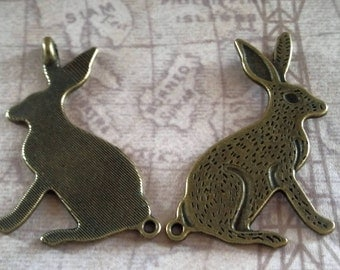 2 gold tone rabbit charms / jewelry supplies / findings / mixed media supply / bunny / hare / altered art supplies / assemblage / large