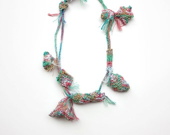 Mint knitted necklace, summer cotton jewelry, OOAK