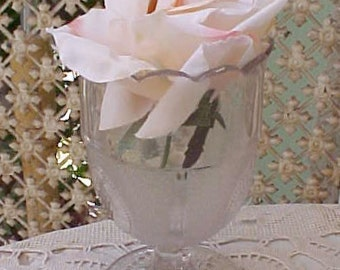 Charming Victorian Era Frosted Grape Pattern Glass Spooner