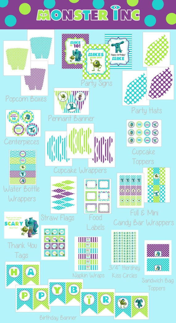 Diy Monster Inc Inspired Kids Birthday Party Digtial Printable