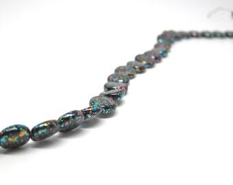 Glass Beads Black 80s Splatter Paint Pink Aqua Bead 10mm