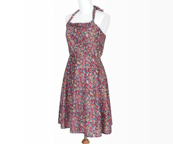 70s Vintage Dress Floral Print Pink Multicolor XSmall