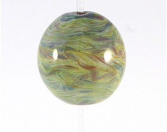 Handmade Lampwork Glass Bead Focal Blue Green Yellow Aqua Brown Purple SRA DUST Team LE Team