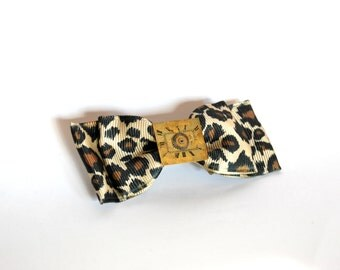 Steampunk Hair Clip - Leopard Print Bow - Watch Gears, Watch Parts - One Of A Kind Hair Accessory