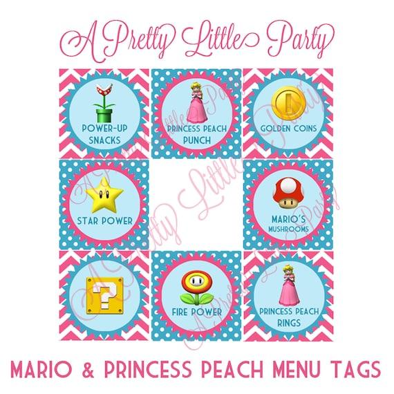 Princess Peach & Mario Menu Tags - Super Mario - Princess Peach - Party Supplies - INSTANT DOWNLOAD