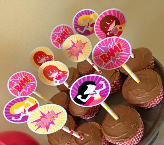 Custom Superhero Girls Cupcake Toppers - Girl Super hero Party -Party Supplies-INSTANT DOWNLOAD