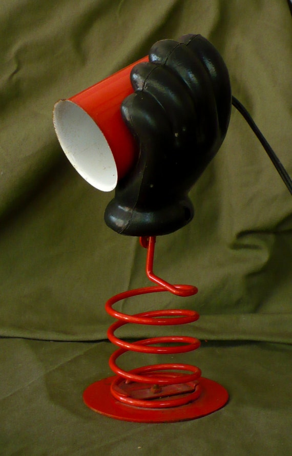 Novelty Lamp Red Metal Spring Base Black Plastic Glove