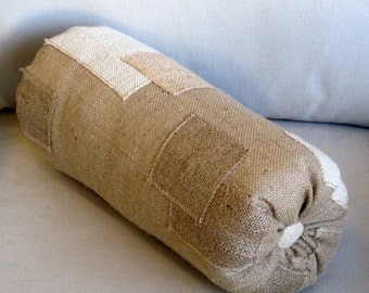 BlockWork light natural burlap Bolster pillow