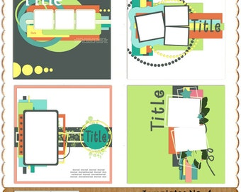 Instant Download Digital Scrapbook Templates No. 4 by LuckySun CU, Personal Use okay