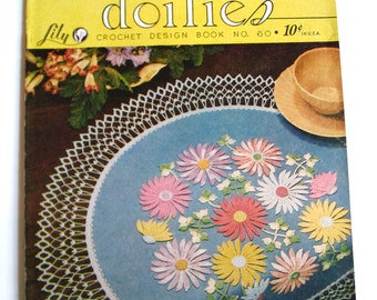 Vintage Crochet Pattern Booklet, Table Doilies Crochet Design, Lily Mills 195
