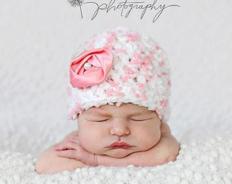 Baby Girl Hat Newborn-3months Photography Prop Knit Crochet Beanie Hat Infant Prop Pink Chunky Soft