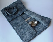 Cutlery Holder--Cloth Flatware Case Roll Wrap--Picnic Silverware Holder--Set of Two
