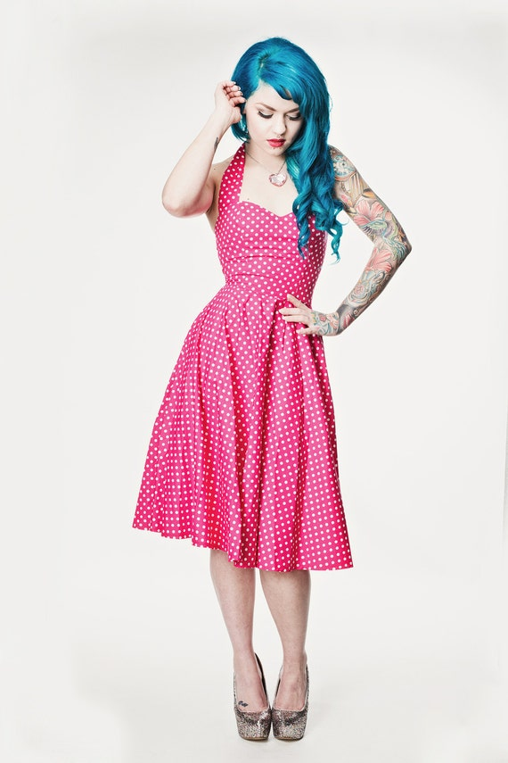 Pink polka dot rockabilly dress pin up 50 39 s style - Pin up style ...