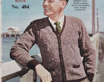 On Sale - Patons Knits for Men Vintage Knitting  Book, No 484 Vintage Knitting  Pattern,   Vintage 1950s