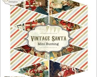 Vintage Santa Mini Banner Bunting Garland Printable PDF file to download instantly by Jodie Lee