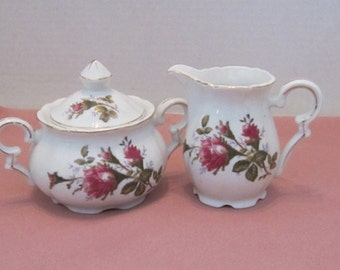 Porcelain White And Rose Pattern Creamer and Sugar Bowl Made in Japan c1970