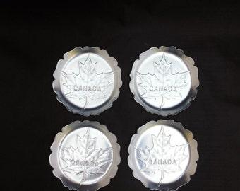 Set of Four Aluminum Coasters Canada Silver Maple Leaf Design