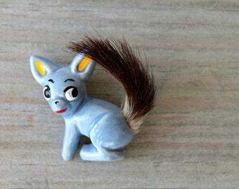 Rare Elzac vintage brooch / mid century retro accessories / collectible ceramic brooch / baby blue squirrel fur tail / retro kitsch jewelry