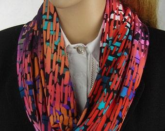 Infinity Scarf - Loop Scarf - Circle Scarf - Cowl Scarf - Long Scarf - multicolor -  Summer - orange pink purple green blue black