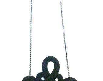 SALE Necklace handmade vintage with fashion black elegant shape