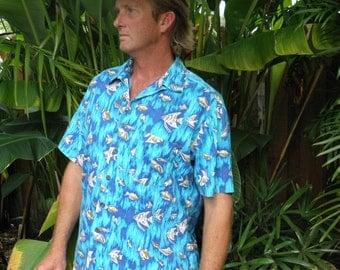 1960's Maui Trading Co. Men's S/S Turquoise Blue & WhiteTropical Fish Hawaiian Shirt, sz XL - Xxl
