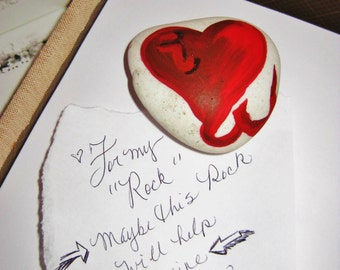 Valentine's Day I Love You Rock Paper Weight, Gifts for him or her, Hand Painted with Love