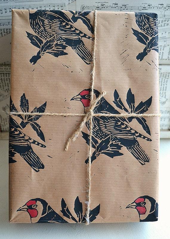 Main imprimé Goldfinch britannique oiseau cadeaux - une seule feuille - 50 x 70 cms