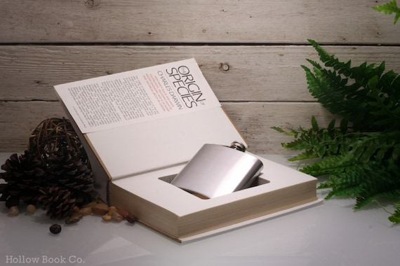 Hollow Book Safe and Whiskey Hip Flask -  Origin of Species (CHARLES DARWIN)