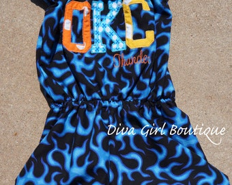 OKC Thunder Romper/Jumper and Matching Boutique Hairbow Set Oklahoma City Basketball size 3m 6m 12m 18m 2T 3T 4T 5T