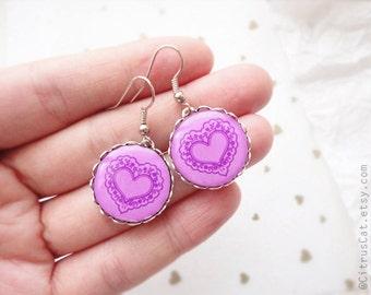 Pink heart earrings - Valentine's jewelry, romantic gift, romantic jewelry, pink earrings, heart jewelry